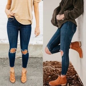 Free People Distressed Ankle High Rise Skinny Jean